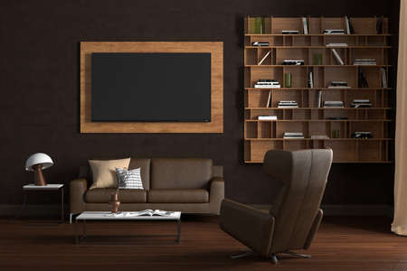 TV screen mock up on the brown wall in modern living room. 3d illustration
