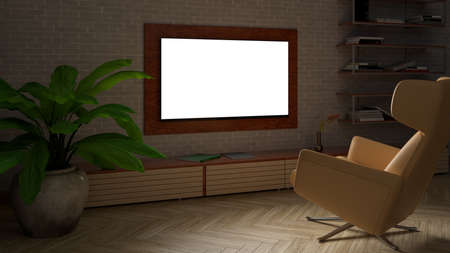 Glowing TV screen mock up at night in the living room with white brick wall. 3d illustration
