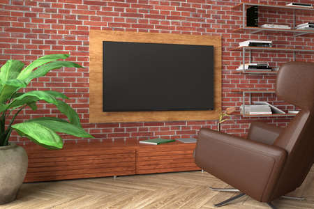 TV screen mock up on the red brick wall in modern living room. 3d illustration