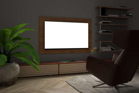 Glowing TV screen mock up at night in the living room with white wall. 3d illustration
