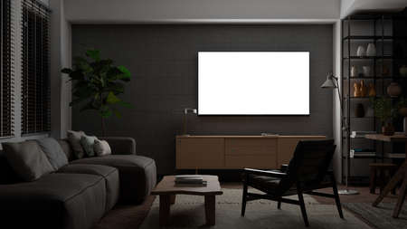 Glowing TV screen mock up at night in the living room with concrete wall. 3d illustration