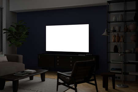 Glowing TV screen mock up at night in the living room with blue wall. 3d illustration Standard-Bild