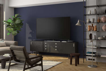 TV screen mock up on the blue wall in modern living room. 3d illustration Standard-Bild