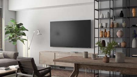 TV screen mock up on the white wall in modern living room. 3d illustration Standard-Bild