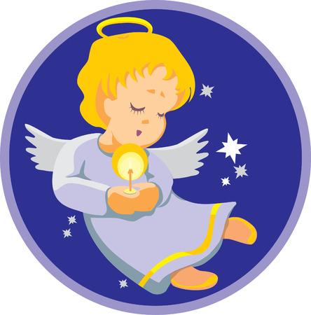 Vector. angelo con la candela pronta per il tuo Natale