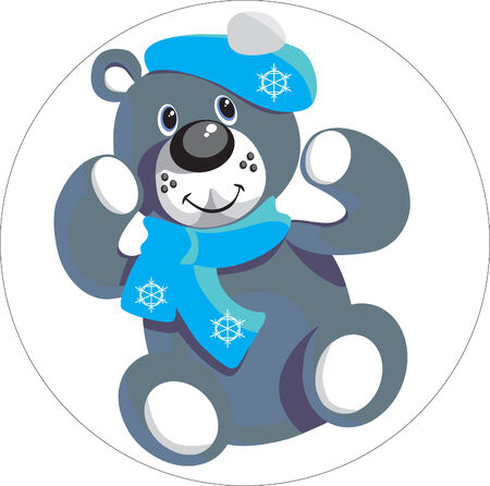 Vector. Christmas toy little smile bear in blue cheap Stock Vector - 5046296