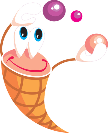 Vector. Smile little icecream with balls on holiday  Vector