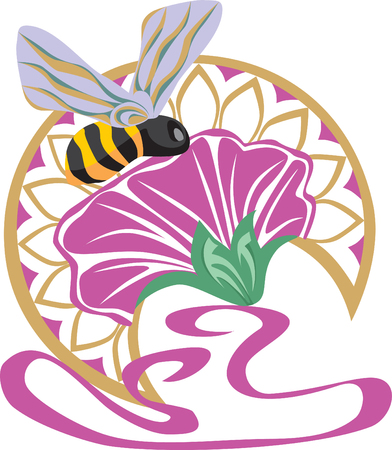 thistle: Vector. little bee on the flower on vignette