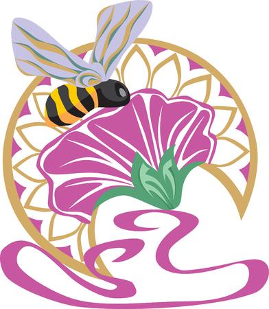 ostrożeń: Vector. trochę Pszczoła na kwiat na winiety Ilustracja