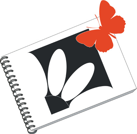 notes with butterfly in color 02 Vector