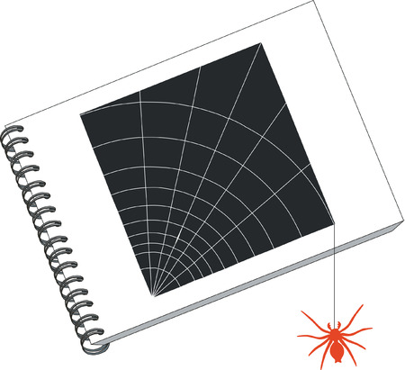 notes with spider in color 03 Vector