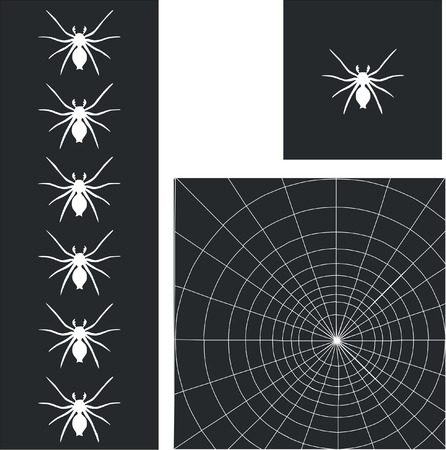 web spider in black set Vector