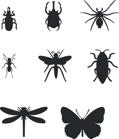 Insect set in black  01 Vector
