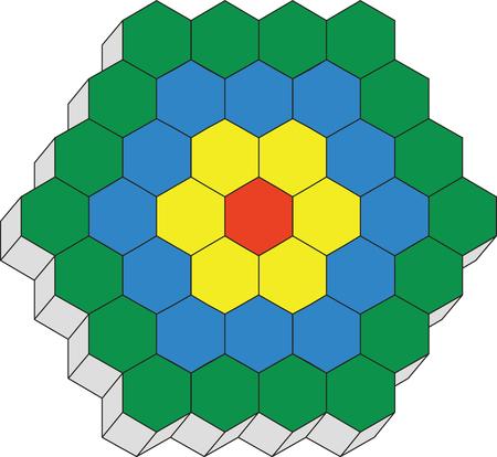 Hexagonal 3d pattern in black 02 Vector
