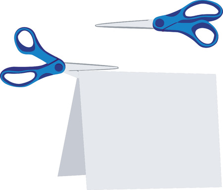 scissors  set with paper in color 02 Vector
