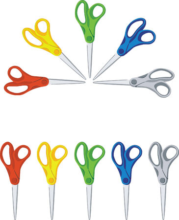 scissors  set in color 01 Vector
