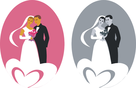 wedding couple in color 01 Vector