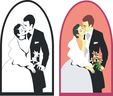 wedding couple in color 02 Vector