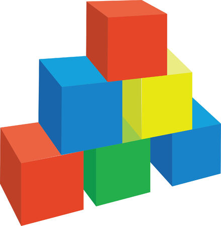 3d cubes in color 1 Vector