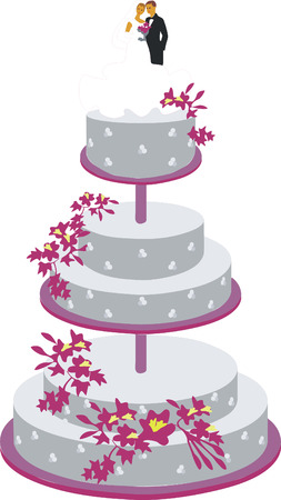 cake for wedding  in color 01 Vector
