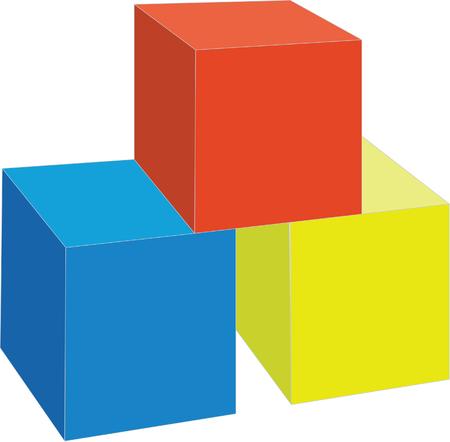 splice: 3d cubes in color 7 Illustration