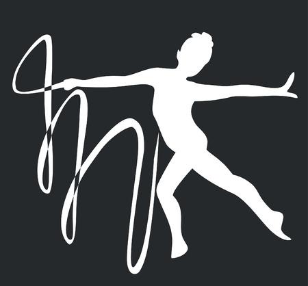 gymnast silhouette in black 03 Vector