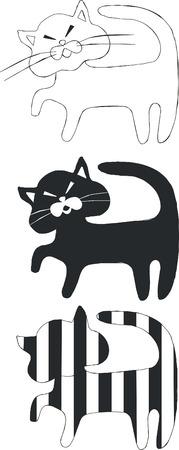 Cat set in black 05 Stock Vector - 5353780