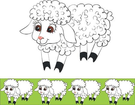 Vector.Lamb set in color 01 Stock Vector - 5353791