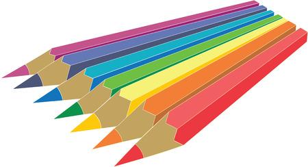 Pen set in color 1 Vector