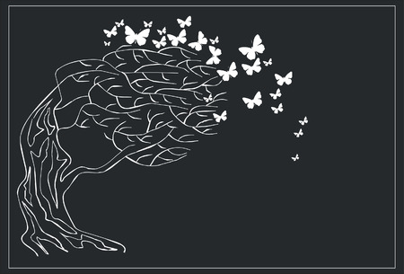 Vector. Tree with butterfly in black 02 Stock Vector - 5379514