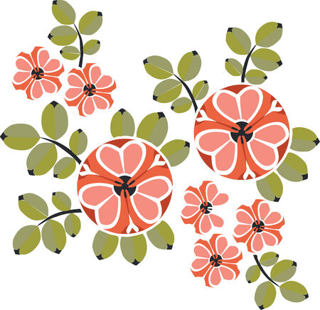Vector. Ornament flower in color  12 Illustration
