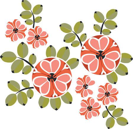 Vector. Ornament flower in color  12 Illustration
