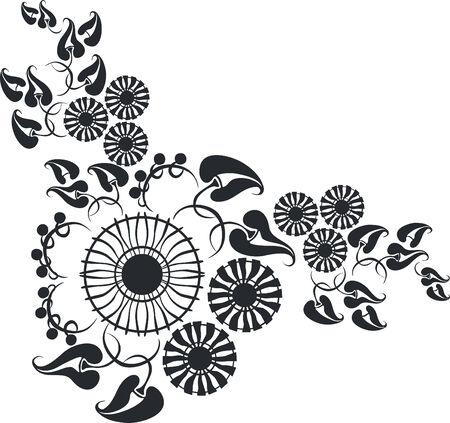 ornament flower black 10 Stock Vector - 5390578