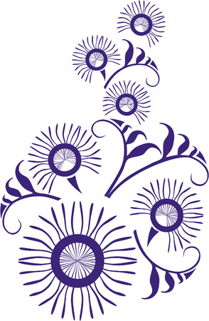 Vector. Ornament flower in color  22