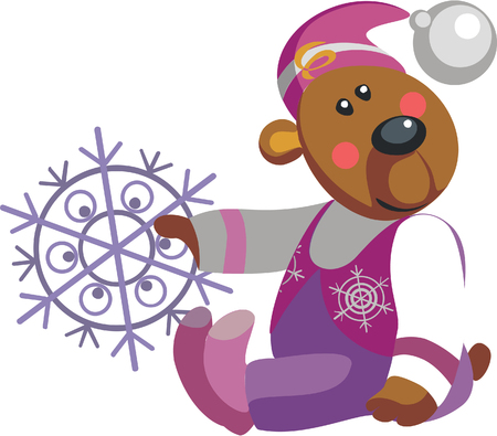 Vector. Bear with snowflake color 10 Stock Vector - 5484885
