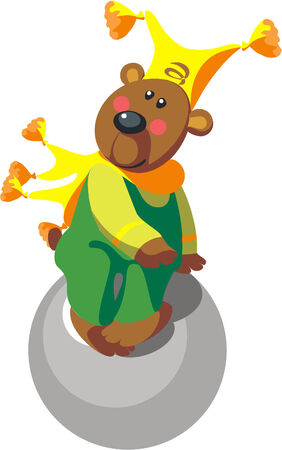 Vector. Bear with ball color 11 Stock Vector - 5484884