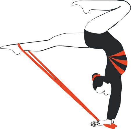 Vector. Gymnast with ribbon in color 04 Illustration