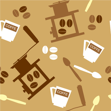 Vector. Seamless ornament with coffee  in color  22