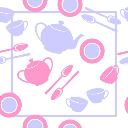 Vector. Seamless ornament with tea set  in color  23 Vector