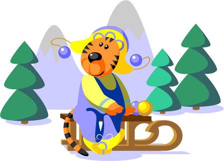 Vector. Tiger winter color 01 Vector