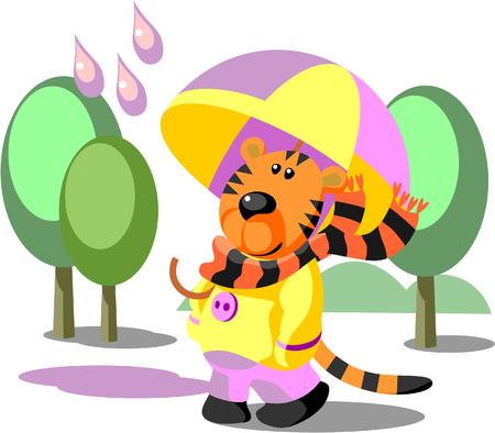 Vettore. Tigre camminare colore 02 Vettoriali
