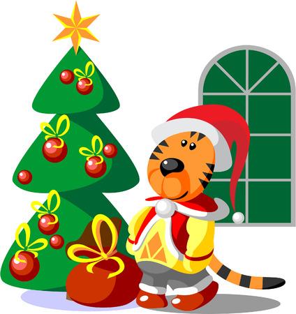 ベクトル。タイガー冬クリスマス色 03