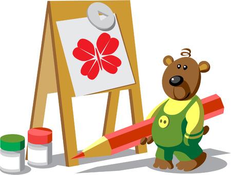 Vector. Bear-painter color 12 Illustration