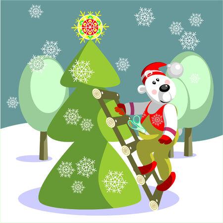 ベクトル。ベアーは、クリスマス色 13 準備ができてください。  イラスト・ベクター素材