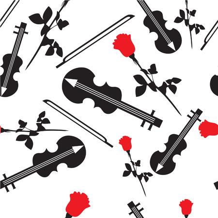 ベクトル。カラー 17 でバイオリンでシームレスな飾り  イラスト・ベクター素材
