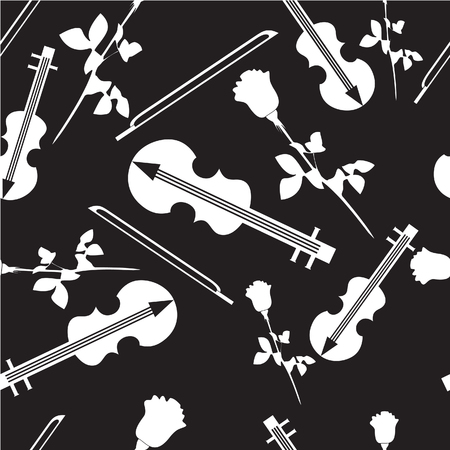 Vector. Seamless ornament with violin in color  18 Vector