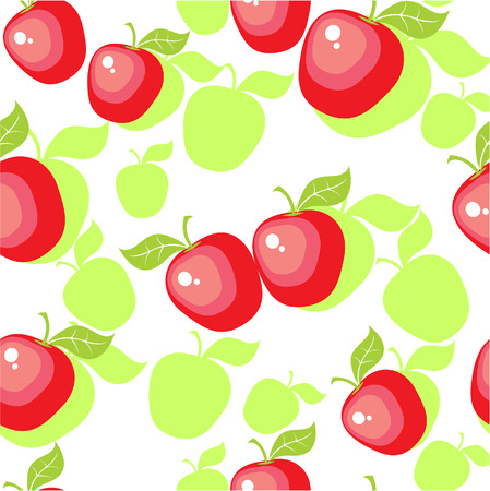 Vector. Seamless ornament with apple  in color  25