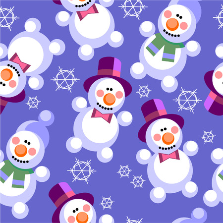 Vector. Seamless ornament snowman  in color  27 Illustration