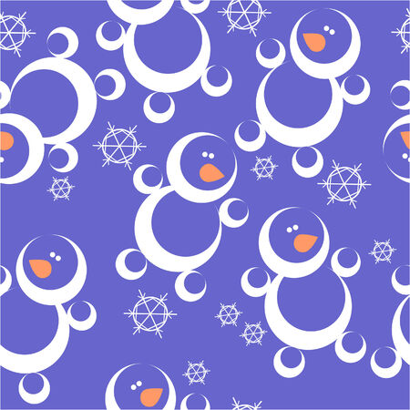 Vector. Seamless ornament snowman  in color  28 Vector