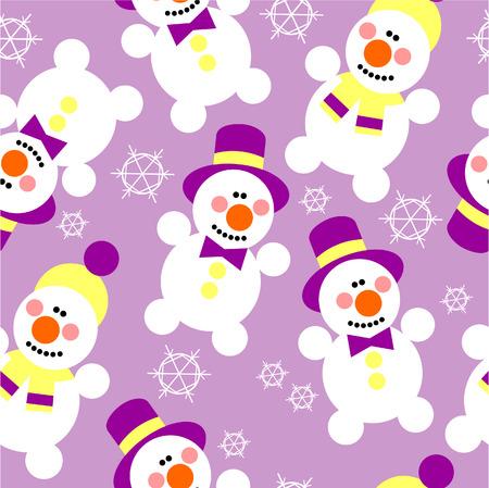 Vector. Seamless ornament snowman  in color  29 Vector